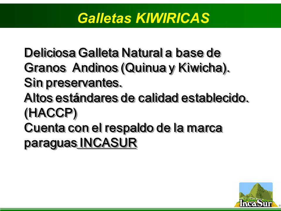 Galletas KIWIRICAS Deliciosa Galleta Natural a base de Granos Andinos (Quinua y Kiwicha). Sin preservantes. Altos est á ndares de calidad establecido.