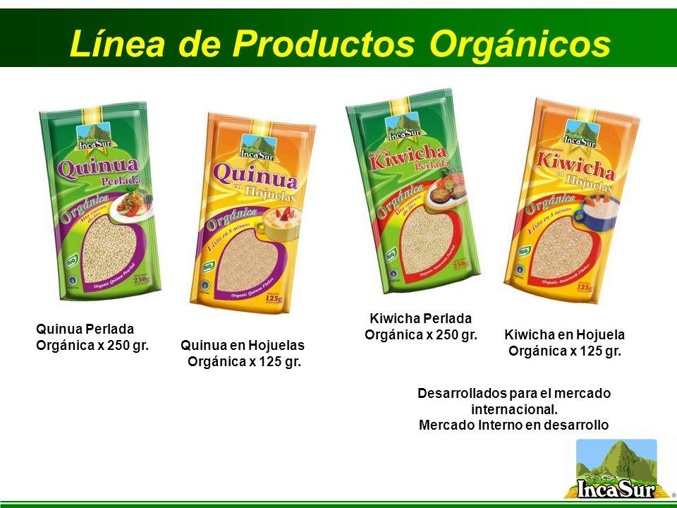 Línea de Productos Orgánicos Quinua Perlada Orgánica x 250 gr. Quinua en Hojuelas Orgánica x 125 gr. Kiwicha Perlada Orgánica x 250 gr. Kiwicha en Hoj