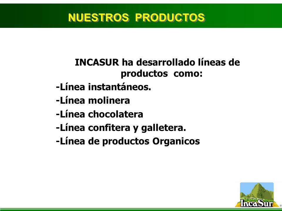 INCASUR ha desarrollado líneas de productos como: -Línea instantáneos. -Línea molinera -Línea chocolatera -Línea confitera y galletera. -Línea de prod