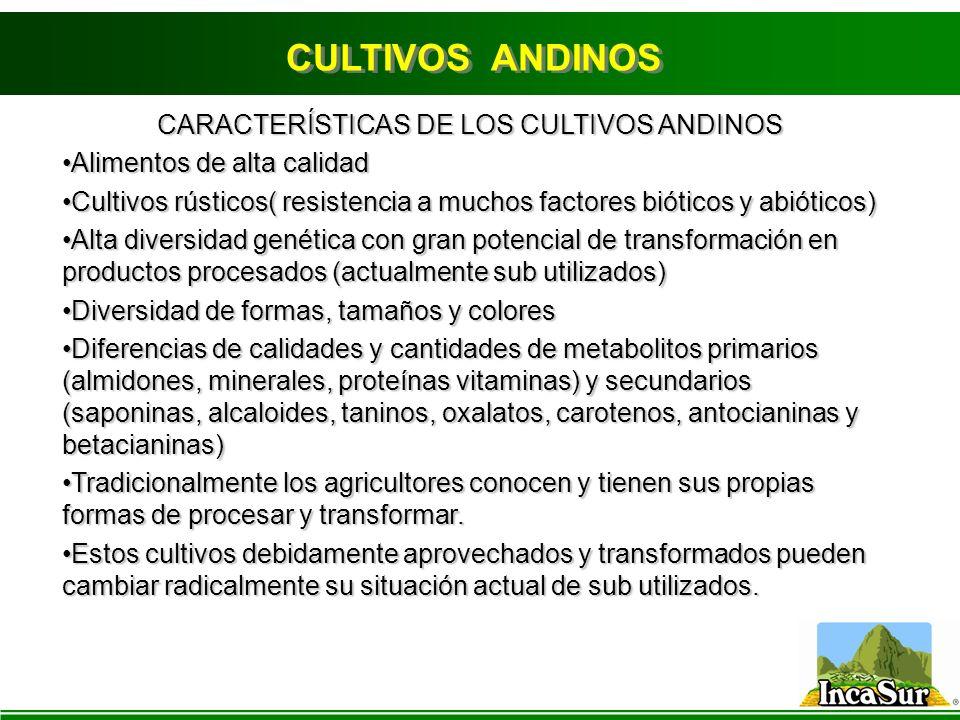 CARACTERÍSTICAS DE LOS CULTIVOS ANDINOS Alimentos de alta calidadAlimentos de alta calidad Cultivos rústicos( resistencia a muchos factores bióticos y