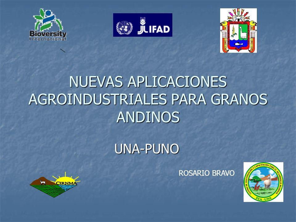 Número de Investigaciones NUS-IFAD 2001-2009 GranosAndinosIngenieríaAgroindustrial Nutrición Humana Ingeniería Química Ms.MarketingyPost-cosecha Ms.Tecnología de Alimentos Quinua0503000300 Cañihua0404010401 TOTAL0907010701