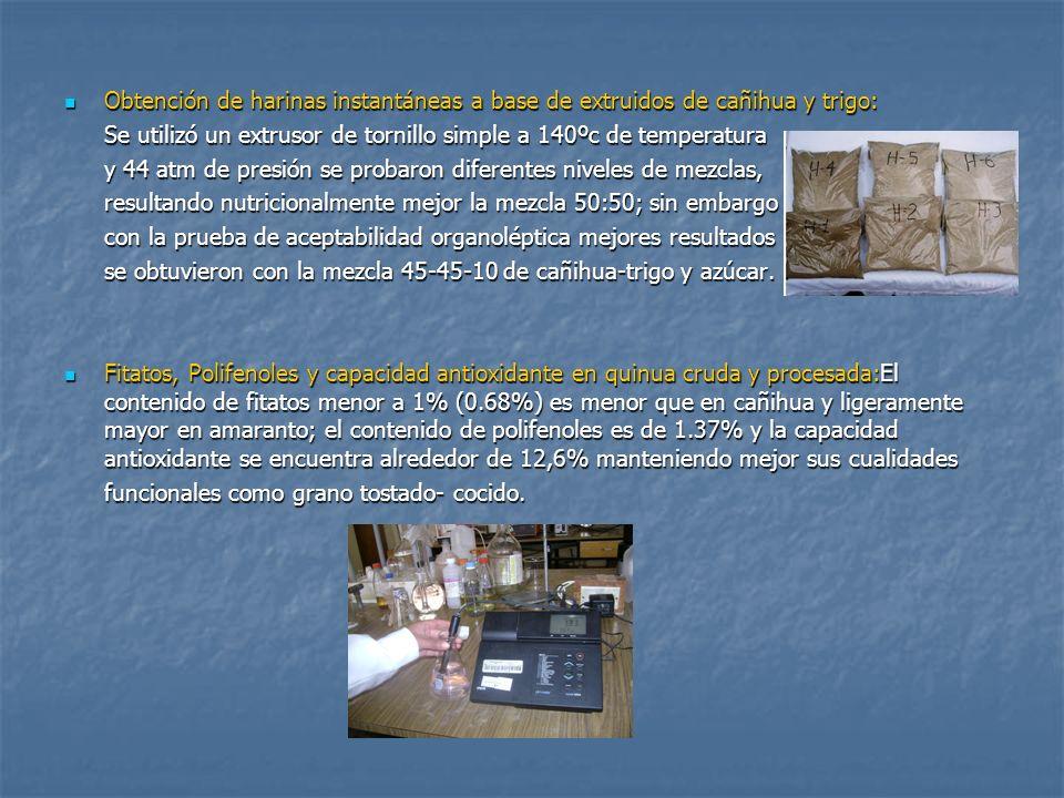 Contenido de plomo en alimentos procesados en expansores comunes y propuesta de nuevo diseño de expansor: Se ha evaluado el Contenido de plomo en alimentos procesados en expansores comunes y propuesta de nuevo diseño de expansor: Se ha evaluado el contenido de plomo total en expandidos de quinua, maíz, trigo y arroz, encontrándose valores por encima del Codex Alimentarius (2.59 a 6.02 mg/Kg), debido al contacto directo del producto con la tapa de plomo.