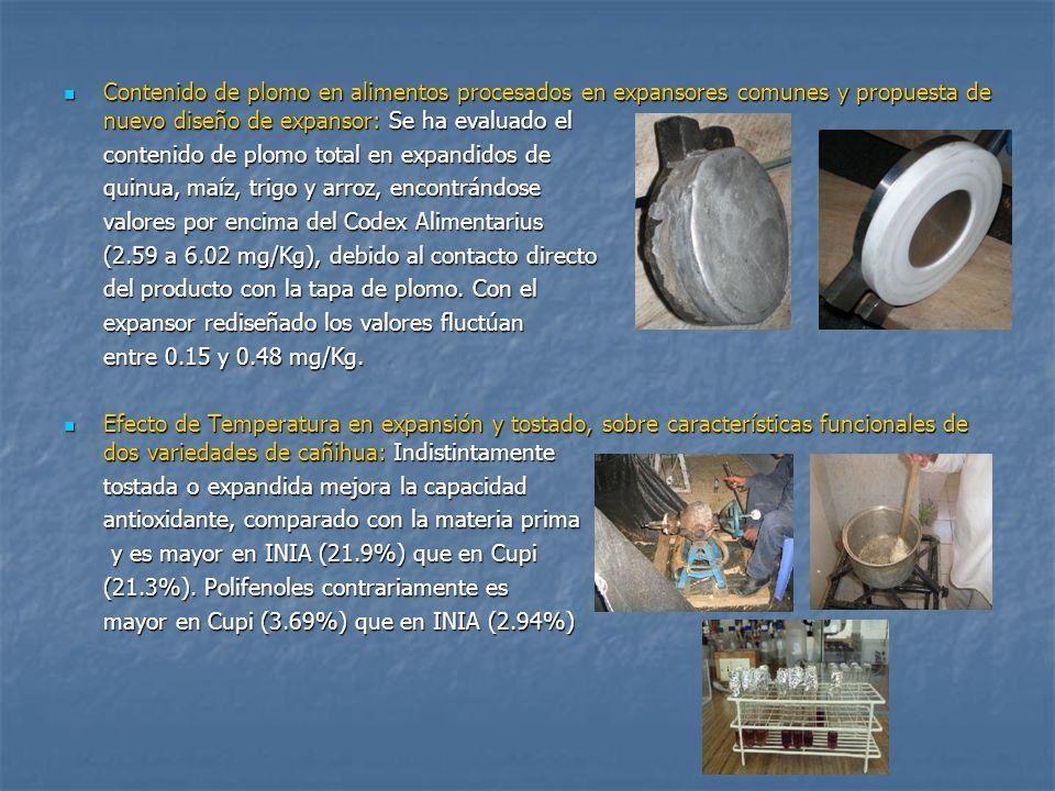 Contenido de plomo en alimentos procesados en expansores comunes y propuesta de nuevo diseño de expansor: Se ha evaluado el Contenido de plomo en alim
