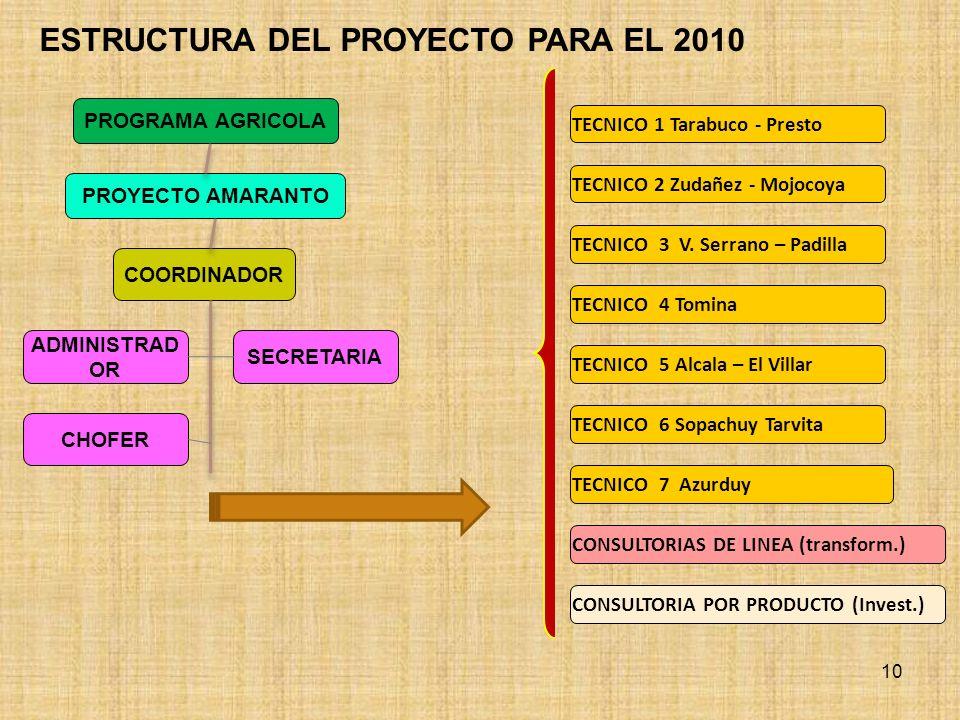 TECNICO 1 Tarabuco - Presto TECNICO 2 Zudañez - Mojocoya TECNICO 3 V. Serrano – Padilla COORDINADOR ESTRUCTURA DEL PROYECTO PARA EL 2010 10 PROYECTO A