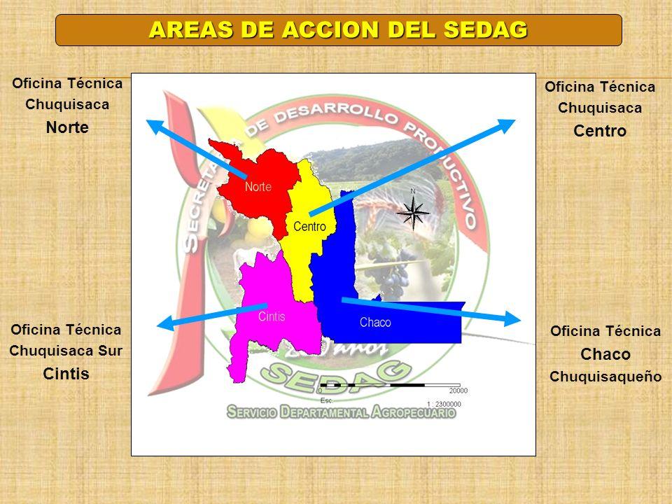Oficina Técnica Chaco Chuquisaqueño Oficina Técnica Chuquisaca Centro Oficina Técnica Chuquisaca Sur Cintis Oficina Técnica Chuquisaca Norte AREAS DE
