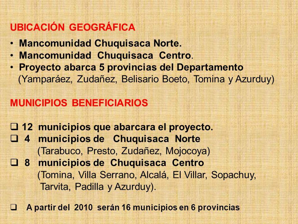 UBICACIÓN GEOGRÁFICA Mancomunidad Chuquisaca Norte. Mancomunidad Chuquisaca Centro. Proyecto abarca 5 provincias del Departamento (Yamparáez, Zudañez,