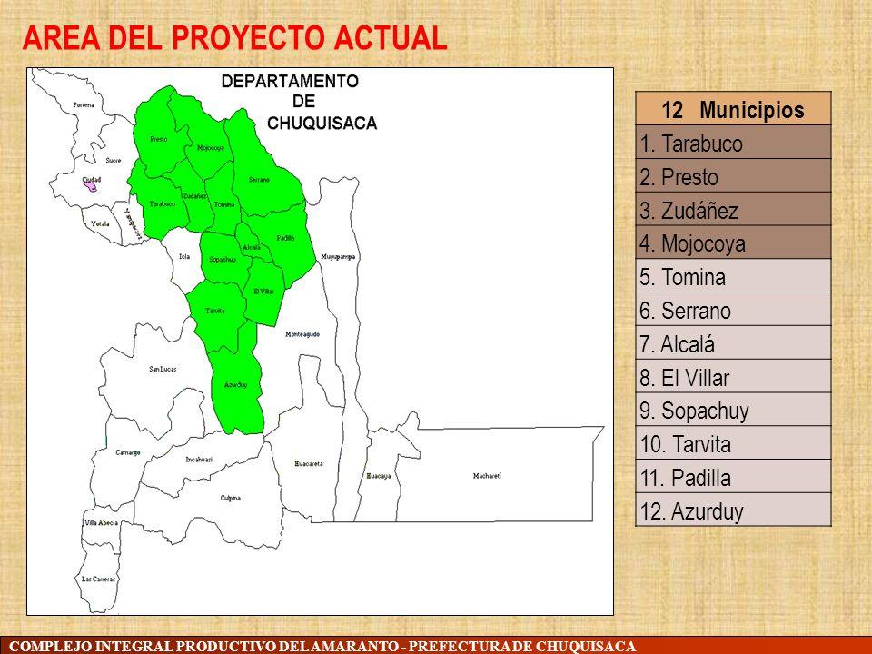 COMPLEJO INTEGRAL PRODUCTIVO DEL AMARANTO - PREFECTURA DE CHUQUISACA 12 Municipios 1. Tarabuco 2. Presto 3. Zudáñez 4. Mojocoya 5. Tomina 6. Serrano 7