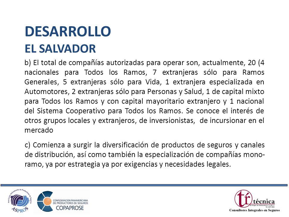 b) El total de compañías autorizadas para operar son, actualmente, 20 (4 nacionales para Todos los Ramos, 7 extranjeras sólo para Ramos Generales, 5 e