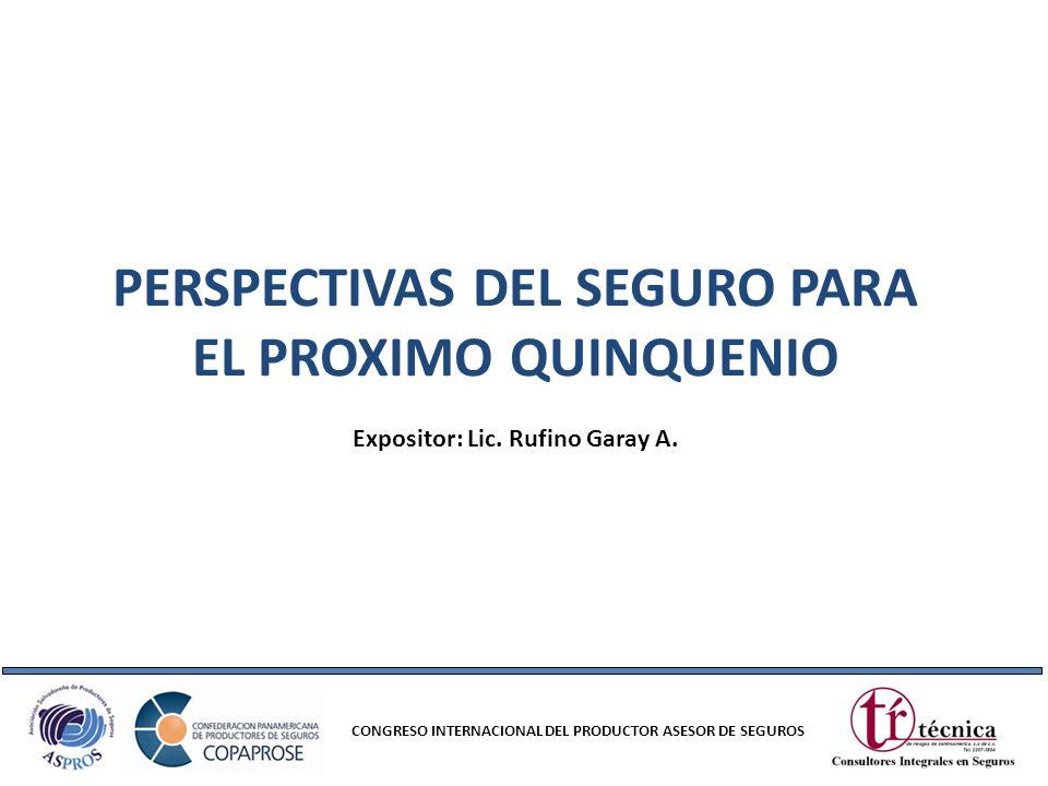 PERSPECTIVAS DEL SEGURO PARA EL PROXIMO QUINQUENIO CONGRESO INTERNACIONAL DEL PRODUCTOR ASESOR DE SEGUROS Expositor: Lic. Rufino Garay A.