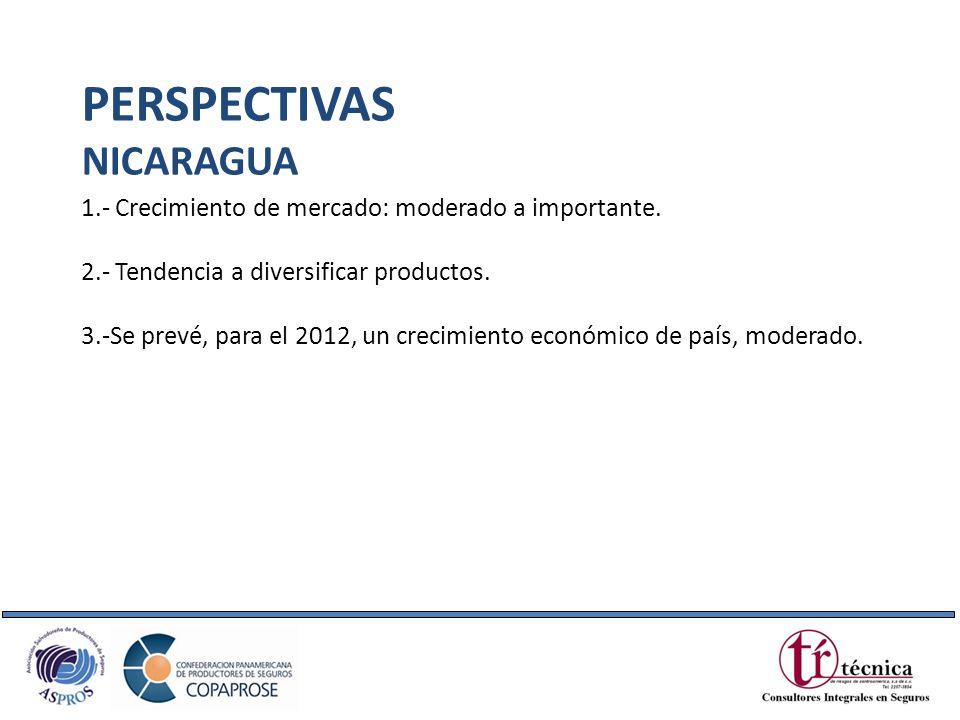 1.- Crecimiento de mercado: moderado a importante. 2.- Tendencia a diversificar productos. 3.-Se prevé, para el 2012, un crecimiento económico de país
