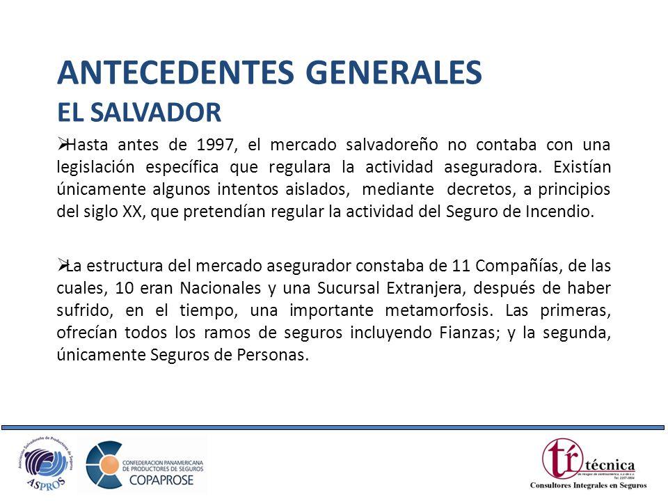 Hasta antes de 1997, el mercado salvadoreño no contaba con una legislación específica que regulara la actividad aseguradora. Existían únicamente algun