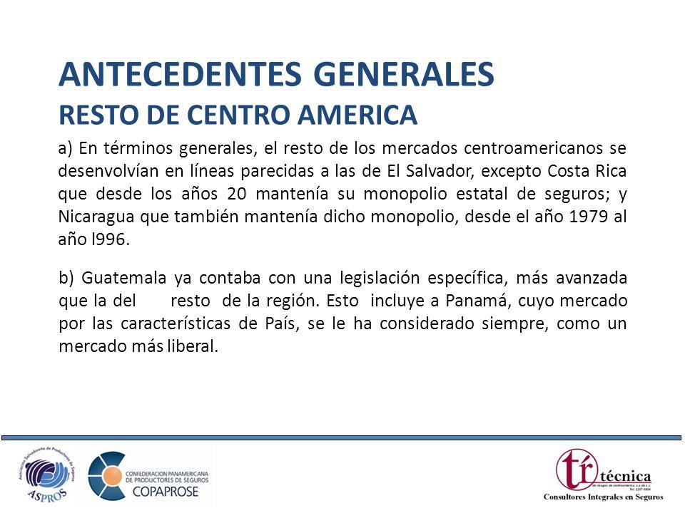 a) En términos generales, el resto de los mercados centroamericanos se desenvolvían en líneas parecidas a las de El Salvador, excepto Costa Rica que d