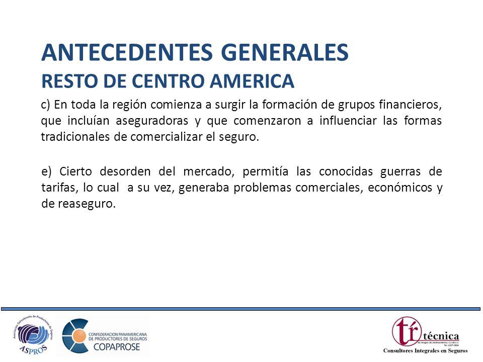 c) En toda la región comienza a surgir la formación de grupos financieros, que incluían aseguradoras y que comenzaron a influenciar las formas tradici