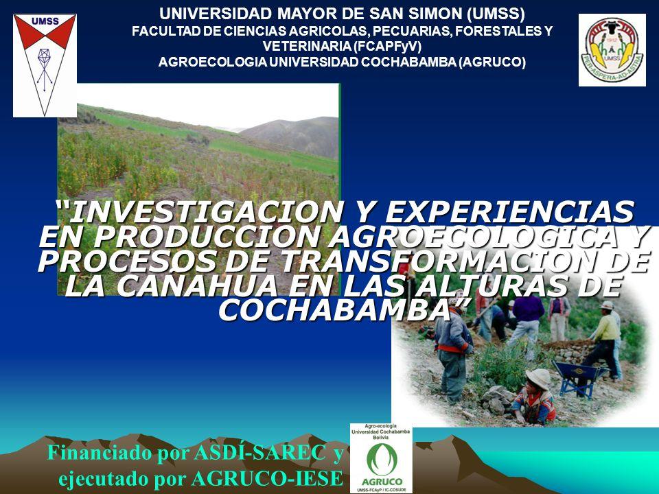 UNIVERSIDAD MAYOR DE SAN SIMON (UMSS) FACULTAD DE CIENCIAS AGRICOLAS, PECUARIAS, FORESTALES Y VETERINARIA (FCAPFyV) AGROECOLOGIA UNIVERSIDAD COCHABAMB