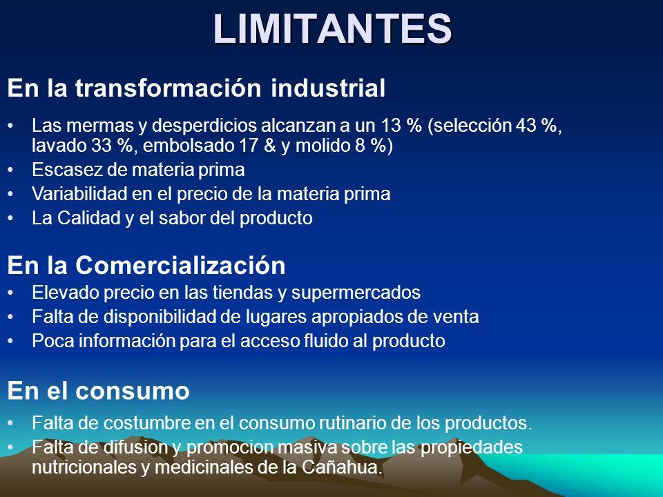 LIMITANTES En la transformación industrial Las mermas y desperdicios alcanzan a un 13 % (selección 43 %, lavado 33 %, embolsado 17 & y molido 8 %) Esc