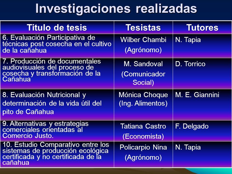 Investigaciones realizadas Titulo de tesis TesistasTutores 11.