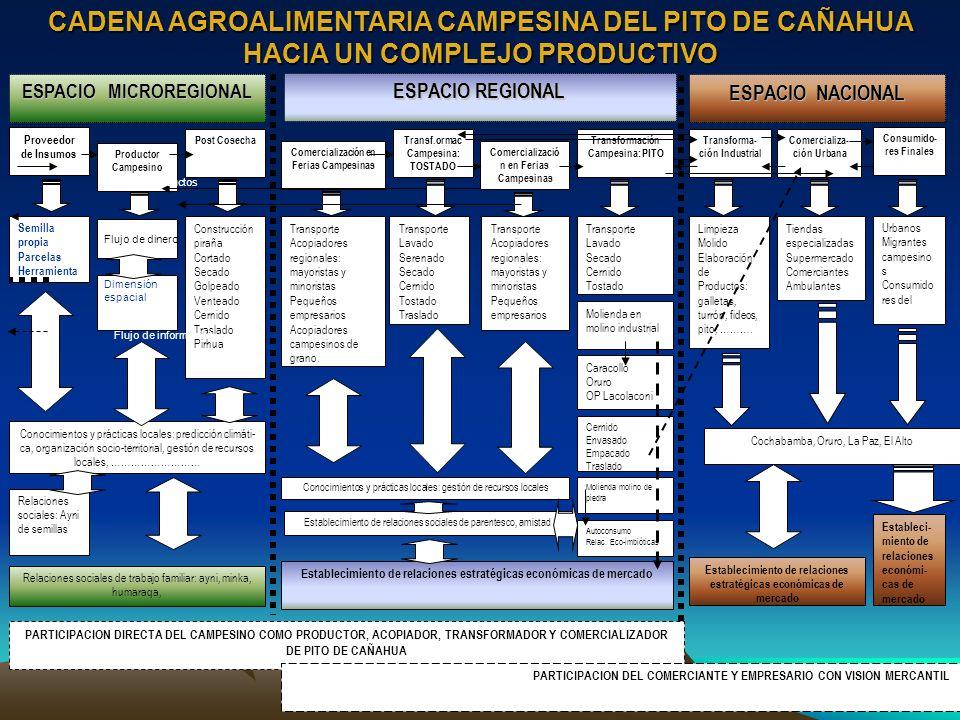 Proveedor de Insumos Productor Campesino Post Cosecha Comercialización en Ferias Campesinas Transforma- ción Industrial Comercializa- ción Urbana Cons