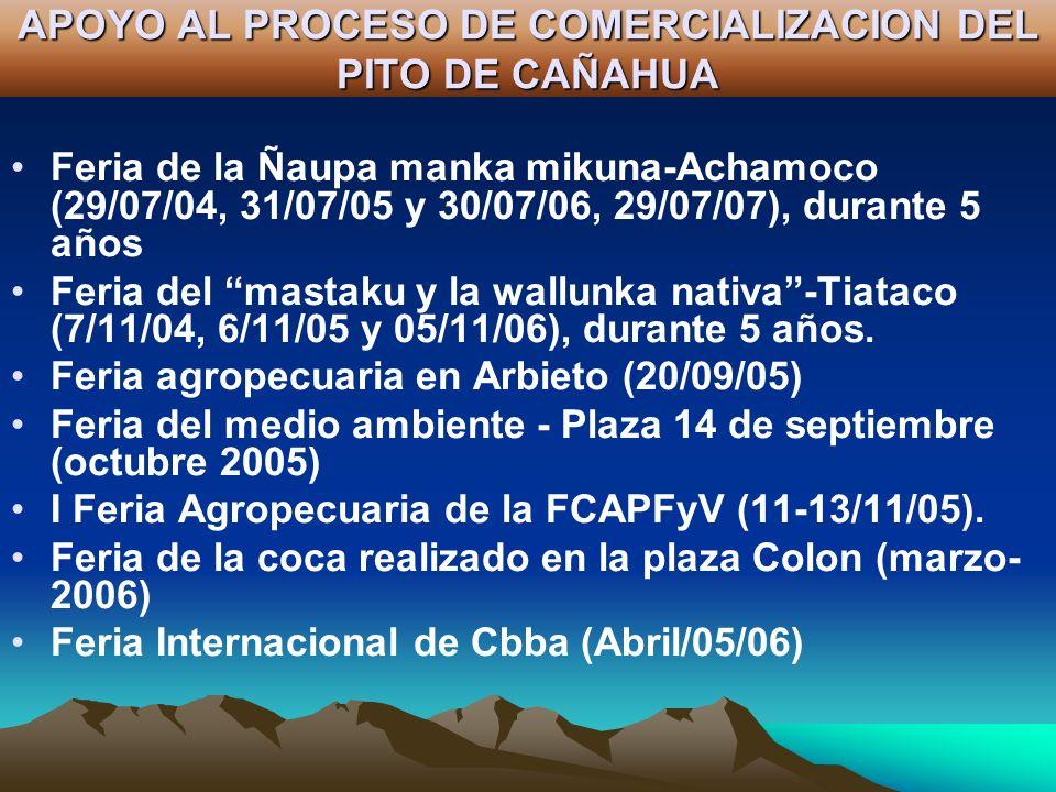 APOYO AL PROCESO DE COMERCIALIZACION DEL PITO DE CAÑAHUA Feria de la Ñaupa manka mikuna-Achamoco (29/07/04, 31/07/05 y 30/07/06, 29/07/07), durante 5
