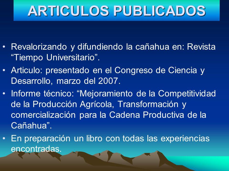 ARTICULOS PUBLICADOS Revalorizando y difundiendo la cañahua en: Revista Tiempo Universitario. Articulo: presentado en el Congreso de Ciencia y Desarro