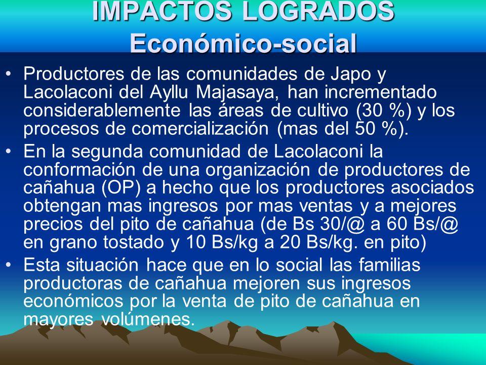 IMPACTOS LOGRADOS Económico-social Productores de las comunidades de Japo y Lacolaconi del Ayllu Majasaya, han incrementado considerablemente las área