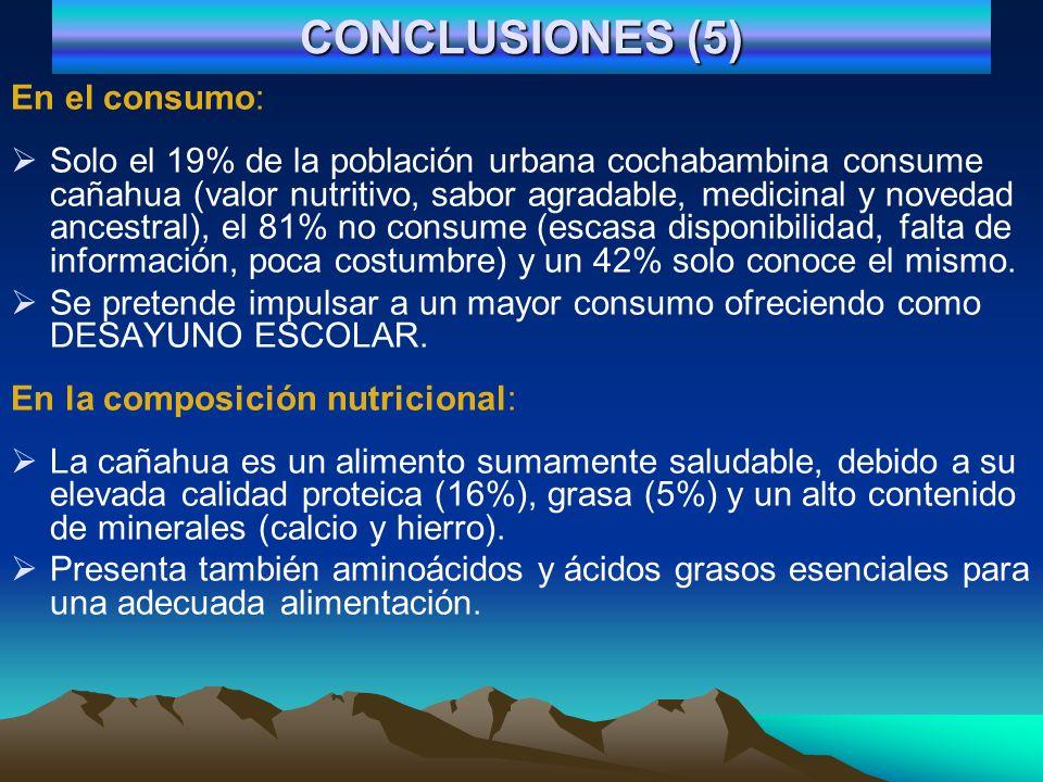 CONCLUSIONES (5) En el consumo: Solo el 19% de la población urbana cochabambina consume cañahua (valor nutritivo, sabor agradable, medicinal y novedad