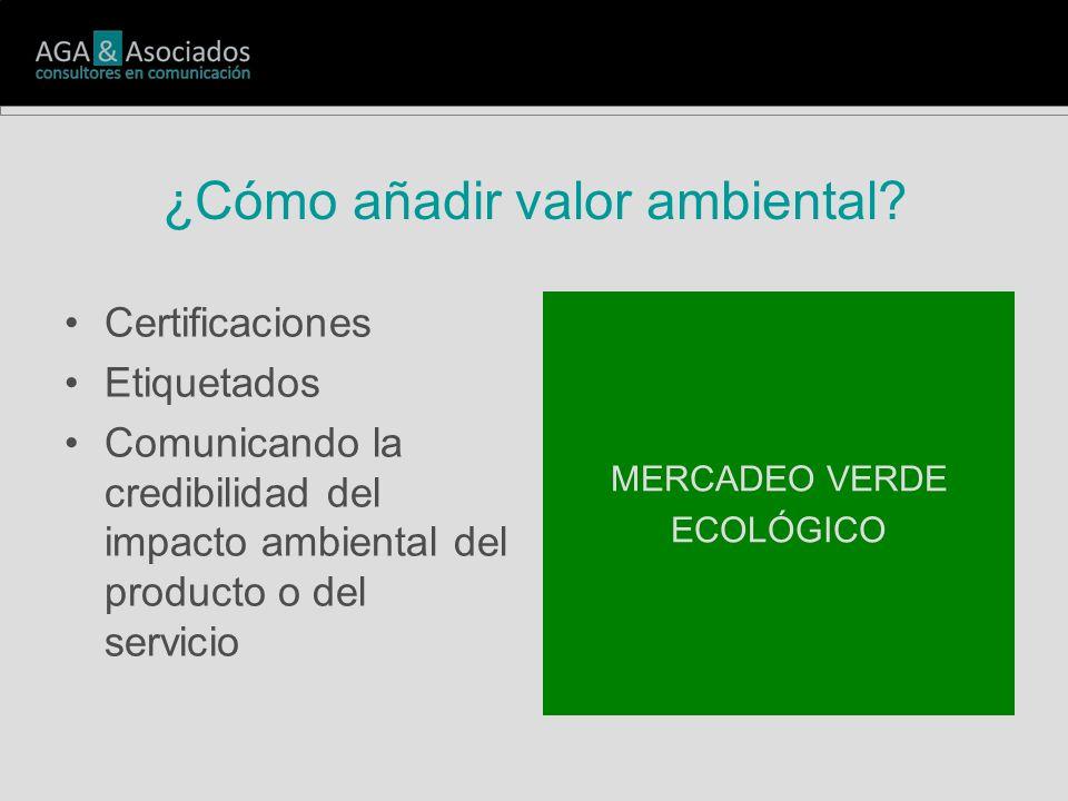 ¿Cómo añadir valor ambiental? Certificaciones Etiquetados Comunicando la credibilidad del impacto ambiental del producto o del servicio MERCADEO VERDE