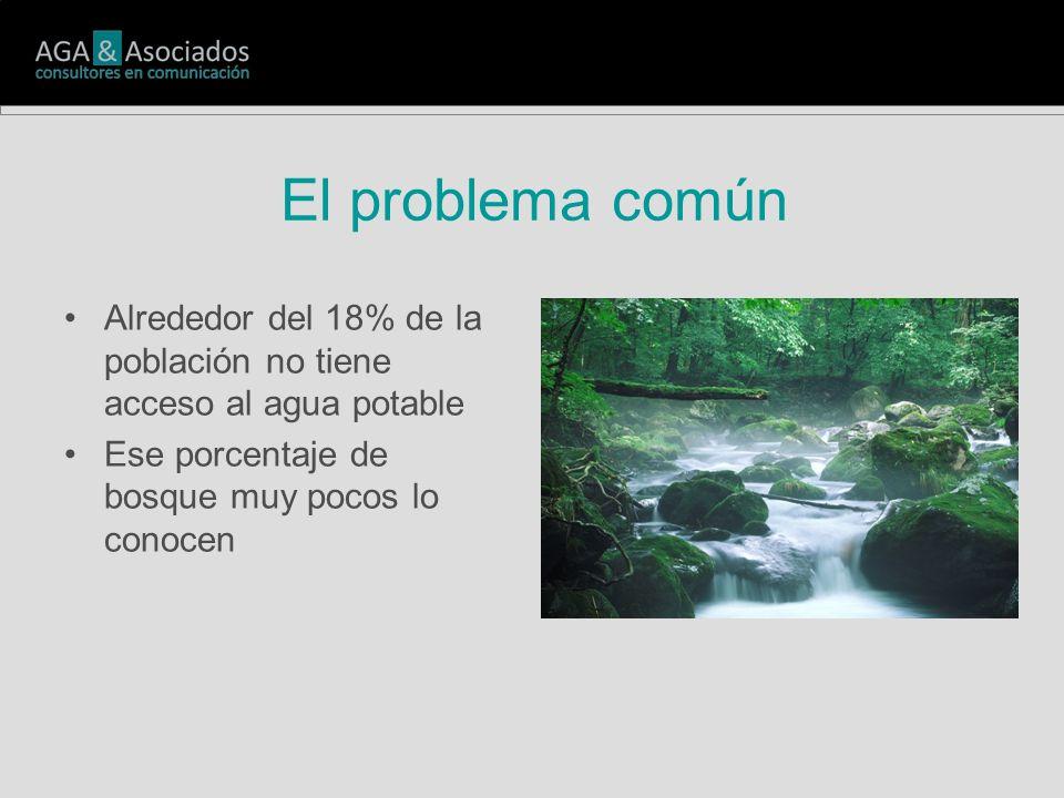 El problema común Alrededor del 18% de la población no tiene acceso al agua potable Ese porcentaje de bosque muy pocos lo conocen