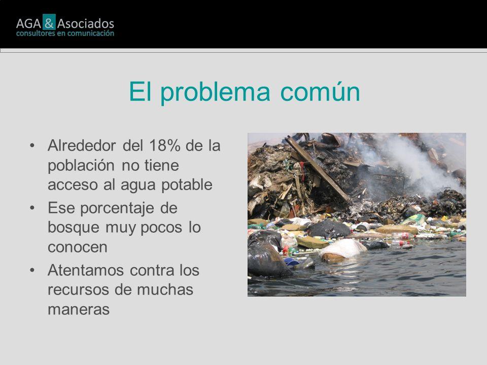 El problema común Alrededor del 18% de la población no tiene acceso al agua potable Ese porcentaje de bosque muy pocos lo conocen Atentamos contra los recursos de muchas maneras