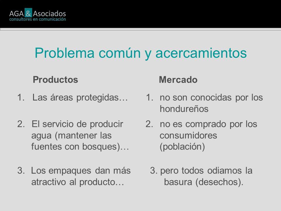 Problema común y acercamientos 1. Las áreas protegidas…1.no son conocidas por los hondureños 2. El servicio de producir agua (mantener las fuentes con