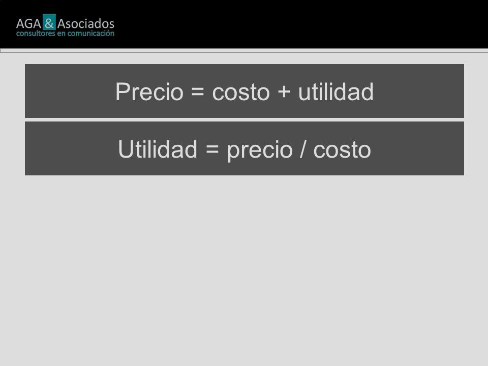 Utilidad = precio / costo