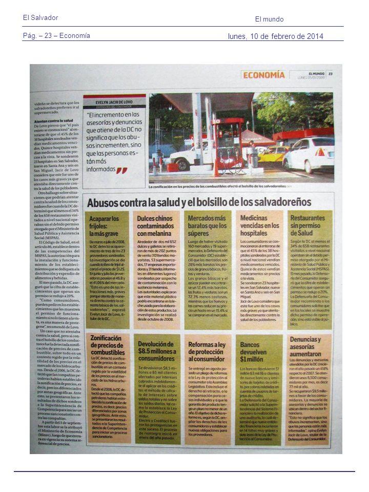 Pág. – 23 – Economía El Salvador El mundo lunes, 10 de febrero de 2014