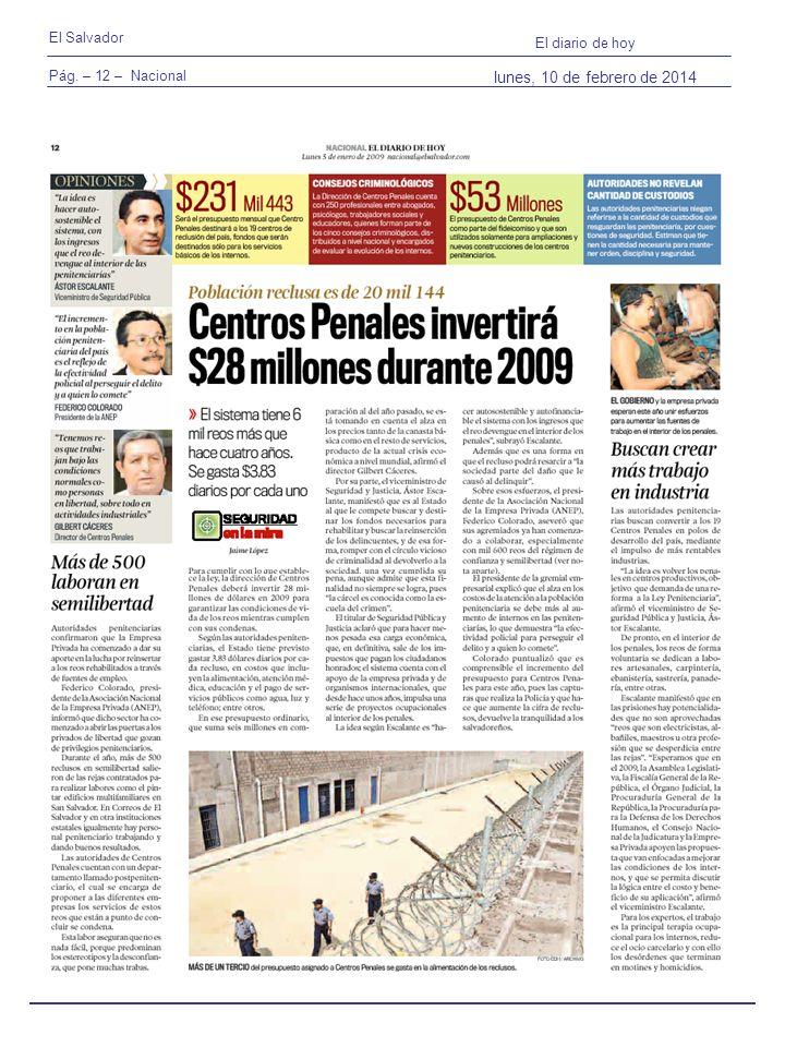 Pág. – 12 – Nacional El Salvador El diario de hoy lunes, 10 de febrero de 2014