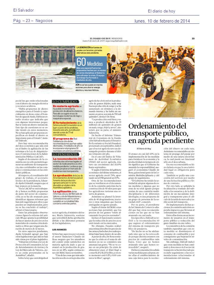 Pág. – 23 – Negocios El Salvador El diario de hoy lunes, 10 de febrero de 2014