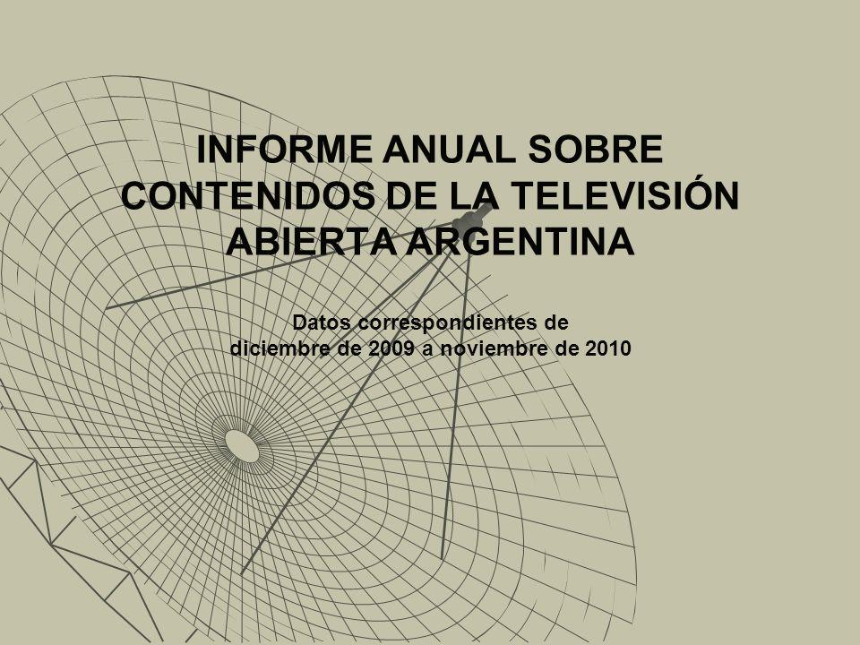 INFORME ANUAL SOBRE CONTENIDOS DE LA TELEVISIÓN ABIERTA ARGENTINA Datos correspondientes de diciembre de 2009 a noviembre de 2010