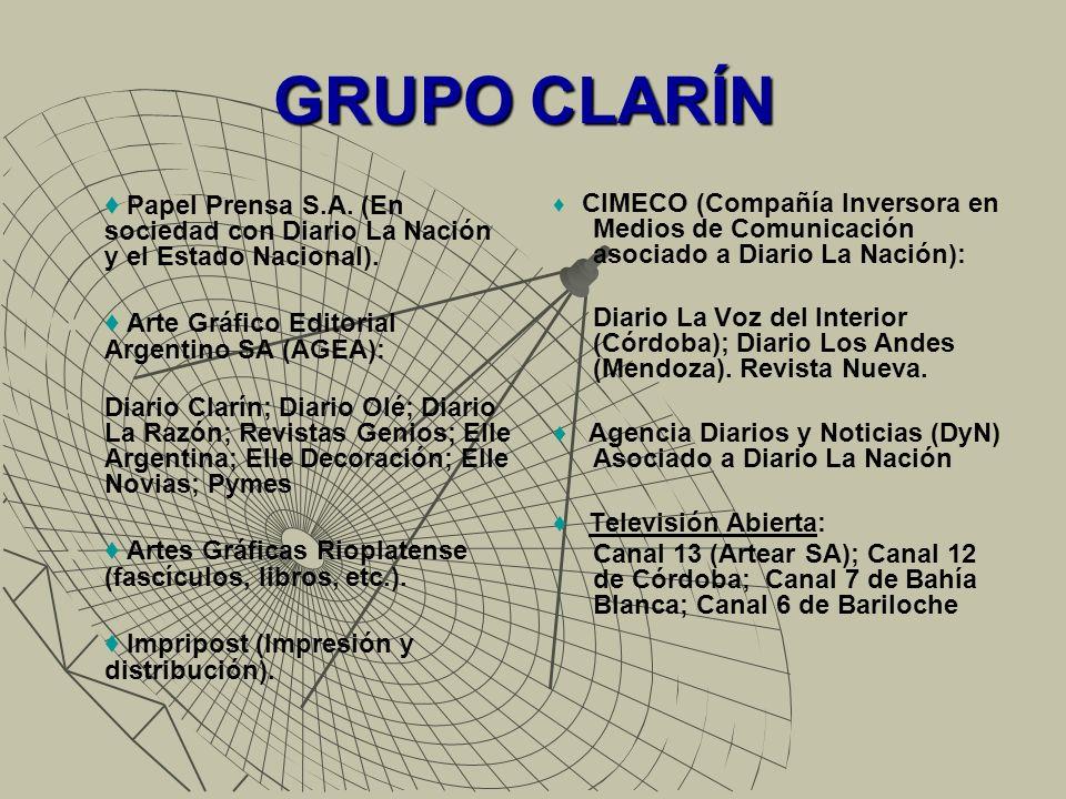GRUPO CLARÍN Operadoras de Cable: 191 licencias de cable (12 de Cable Visión Federal; 35 Cable Visión SA; 59 de Multicanal; 35 Teledigital cable) a lo que suma el 20% de las acciones de Supercanal.