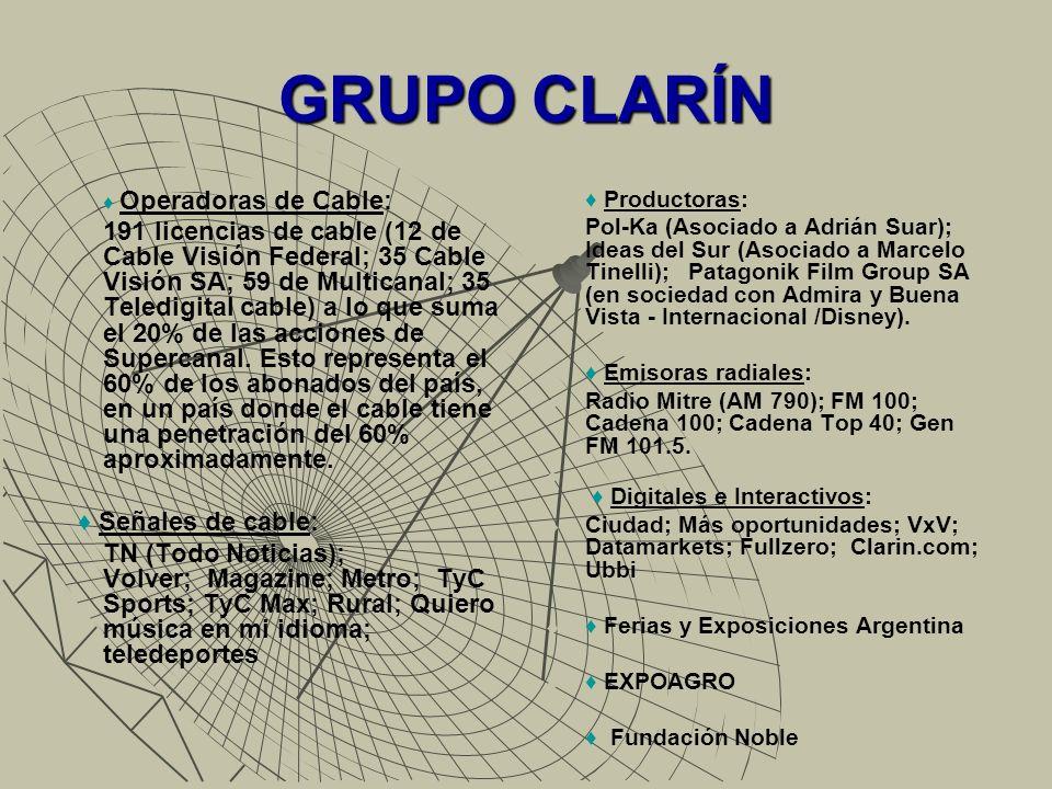 GRUPO CLARÍN Operadoras de Cable: 191 licencias de cable (12 de Cable Visión Federal; 35 Cable Visión SA; 59 de Multicanal; 35 Teledigital cable) a lo