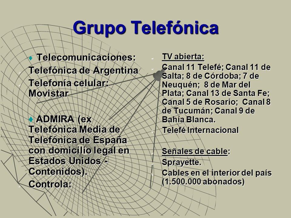 Grupo Telefónica Productoras: Patagonik Film Group SA (30%); P&P Endemol (65% Admira y Buena Vista - Internacional /Disney).