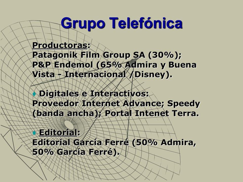 Grupo Telefónica Productoras: Patagonik Film Group SA (30%); P&P Endemol (65% Admira y Buena Vista - Internacional /Disney). Digitales e Interactivos: