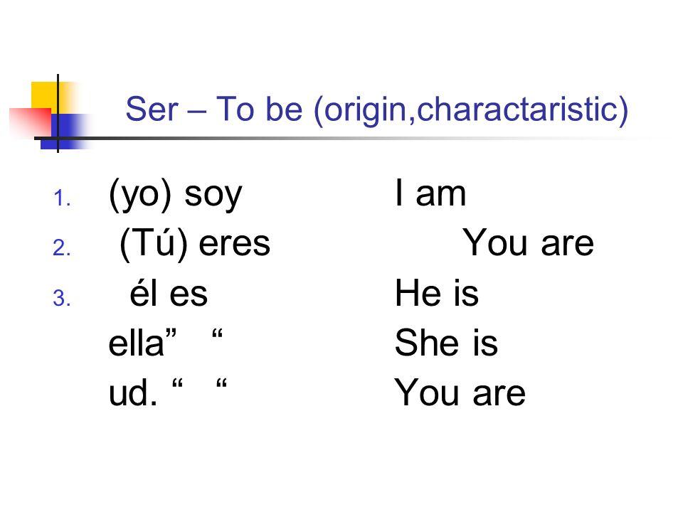 Ser – To be (origin,charactaristic) 1. (yo) soyI am 2. (Tú) eresYou are 3. él esHe is ella She is ud. You are