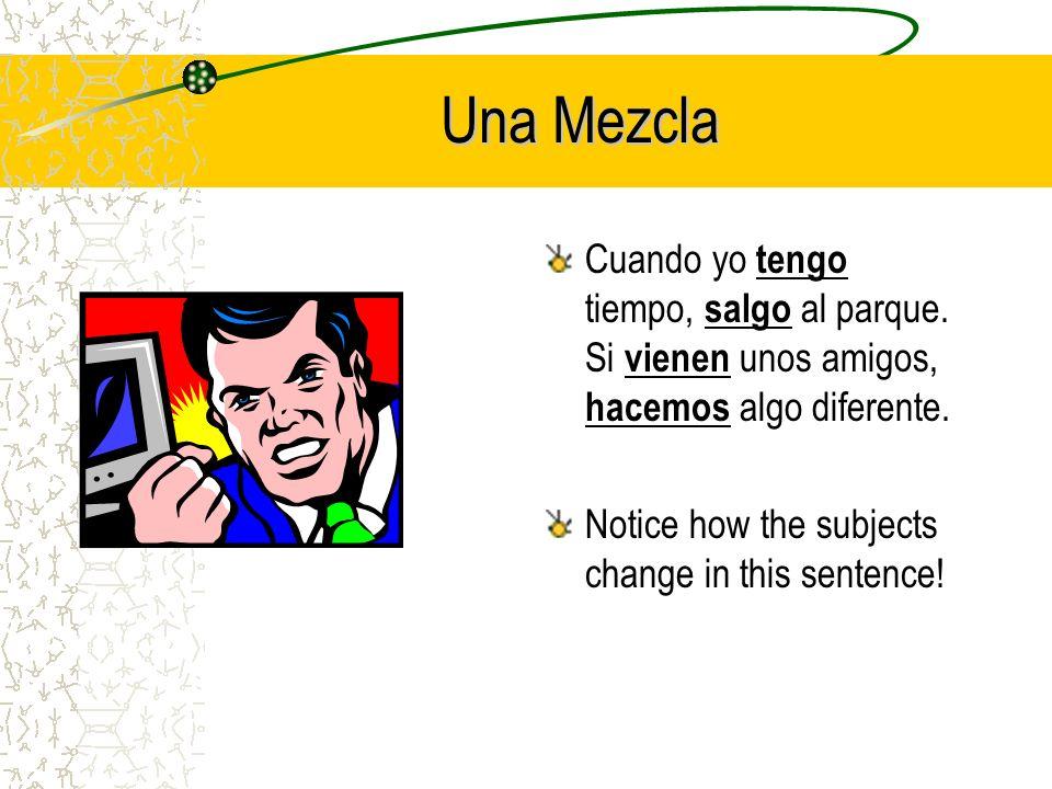 Una Mezcla (a mixture) Cuando yo _______ (tener) tiempo, _______ (salir) al parque. Si _______ (venir) unos amigos, _______ (hacer) algo diferente.