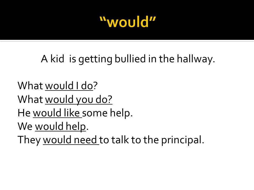 We would talk with the bully (el abusón).Hablaríamos con el abusón.