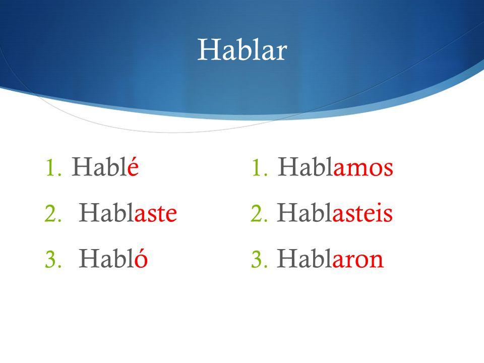 Hablar 1. Hablé 2. Hablaste 3. Habló 1. Hablamos 2. Hablasteis 3. Hablaron