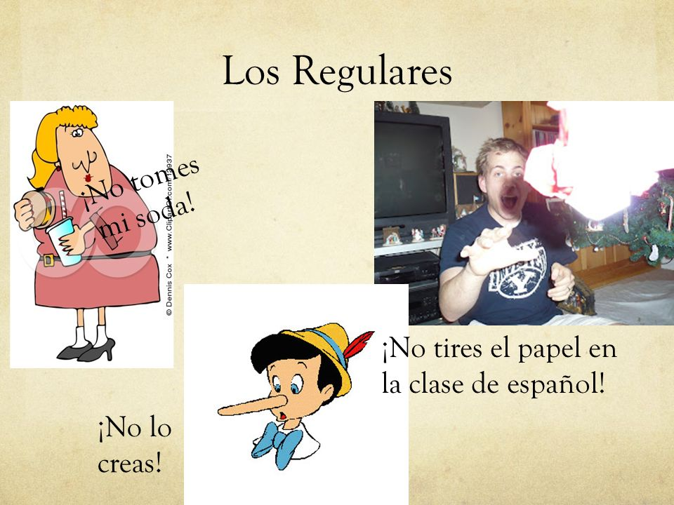 Los Regulares Verbos AR Change the regular present tense Tú form from as toes.