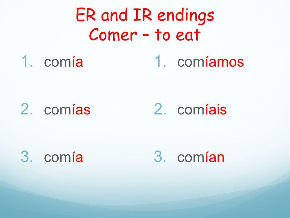 ER and IR endings Comer – to eat 1. comía 2. comías 3. comía 1. comíamos 2. comíais 3. comían