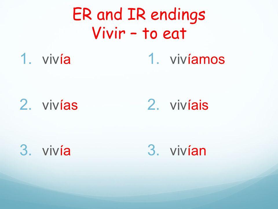 ER and IR endings Vivir – to eat 1. vivía 2. vivías 3. vivía 1. vivíamos 2. vivíais 3. vivían
