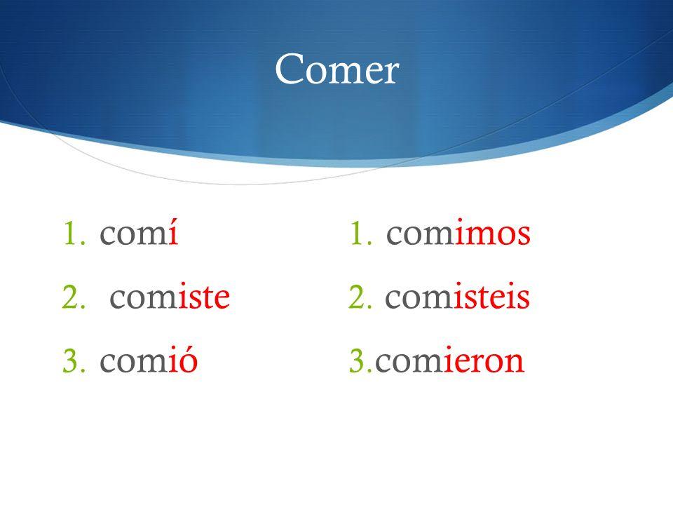 Comer 1. comí 2. comiste 3. comió 1. comimos 2. comisteis 3. comieron