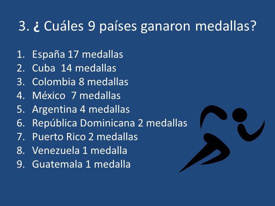 4. ¿ Cuántos países de habla hispana ganaron una medalla de oro mínimo? a.9 b.7 c.5 d.2