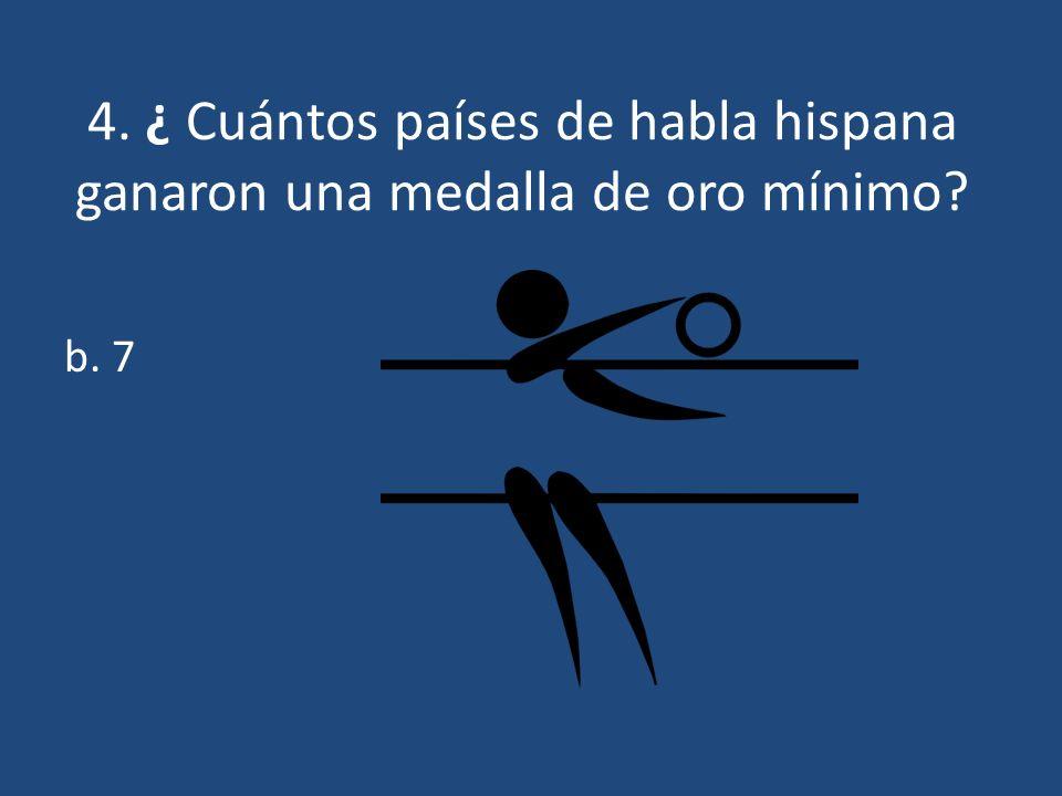5.¿ Cuáles 7 países de habla hispana ganaron una medalla de oro mínimo.
