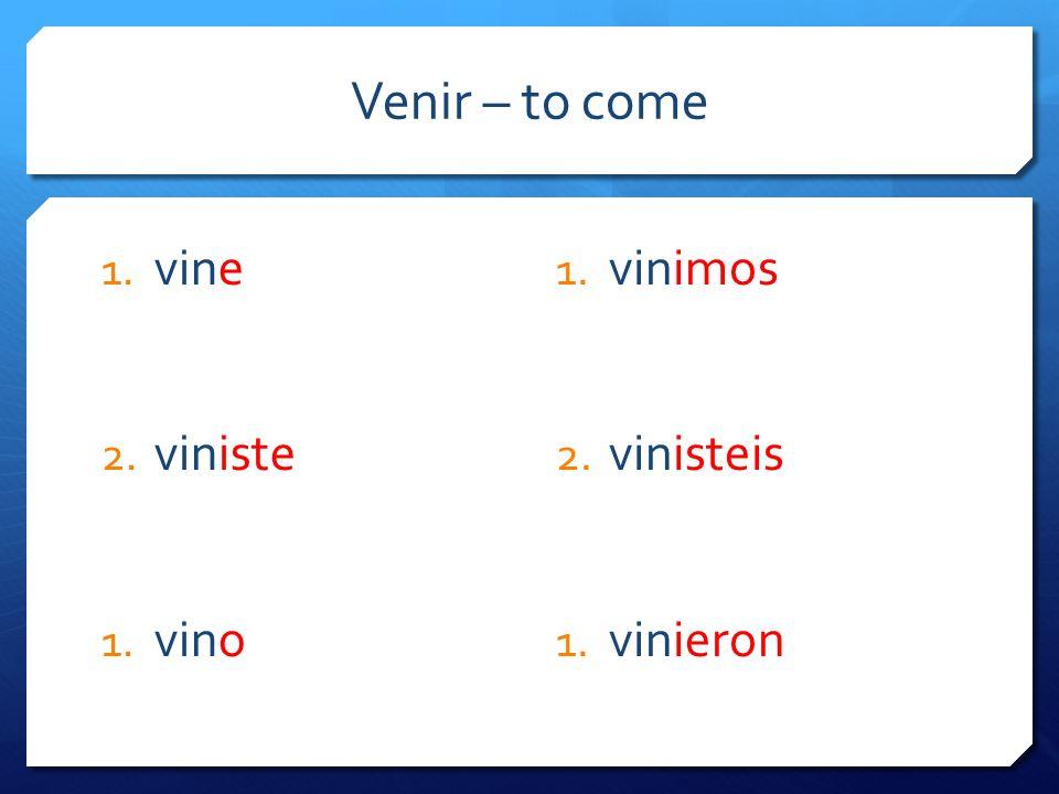 Venir – to come 1. vine 2. viniste 1. vino 1. vinimos 2. vinisteis 1. vinieron