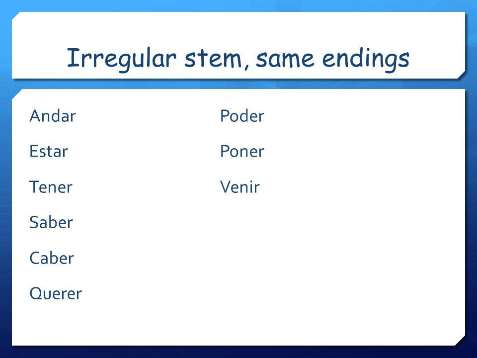 Irregular stem, same endings AndarPoder EstarPoner TenerVenir Saber Caber Querer